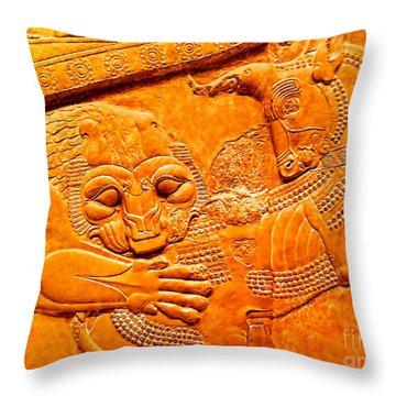 Assyrian Lion Throw Pillow by Nigel Fletcher-Jones