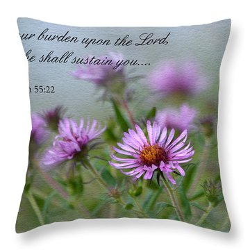 Asters With Scripture Throw Pillow