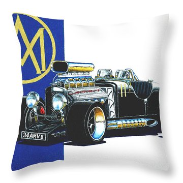 Aston Martin Hot Rod Throw Pillow