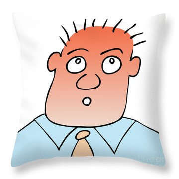 Astonished - Puzzled Expression Throw Pillow by Michal Boubin