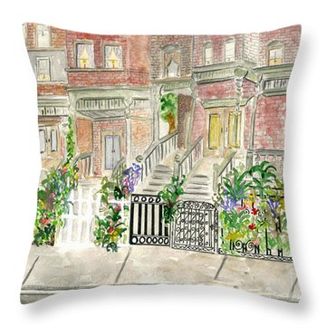 Astor Row In Harlem Throw Pillow