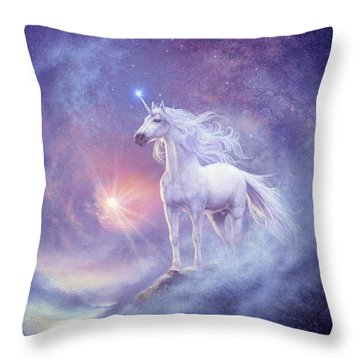 Astral Unicorn Throw Pillow by Steve Read
