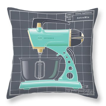 Astromix - Aqua Throw Pillow