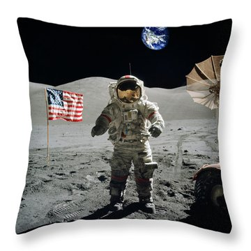 Astronaut On The Lunar Surface Earth On The Background Throw Pillow