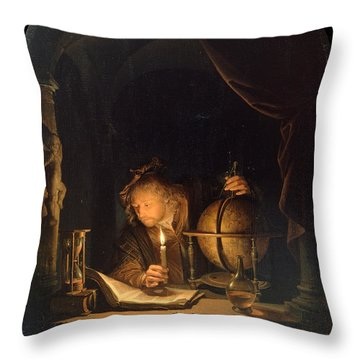 Astronomer By Candlelight Throw Pillow
