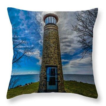 Asylum Point Lighthouse Throw Pillow