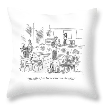 At An Internet Cafe Throw Pillow