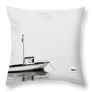 At Anchor Bar Harbor Maine Black And White Throw Pillow