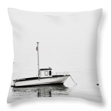 At Anchor Bar Harbor Maine Black And White Square Throw Pillow by Carol Leigh