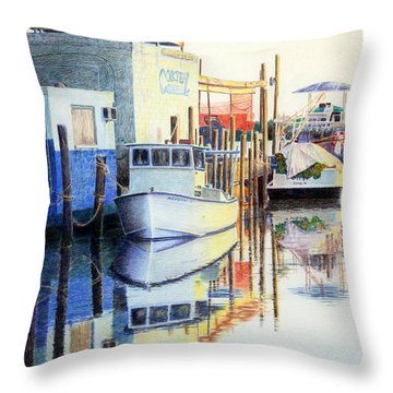 Throw Pillow featuring the painting At Cortez Docks by Roger Rockefeller