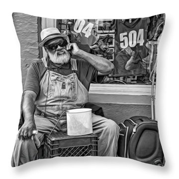 At His Office - Grandpa Elliott Small Bw Throw Pillow