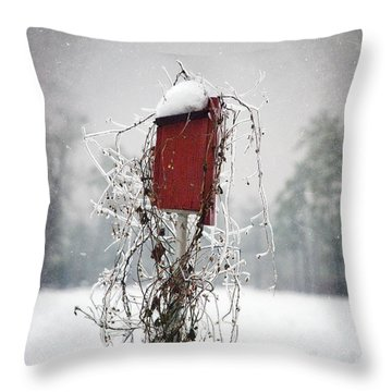 At Home In The Snow Throw Pillow by Beverly Stapleton