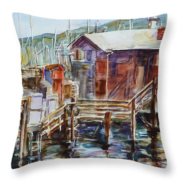 At Monterey Wharf Ca Throw Pillow by Xueling Zou