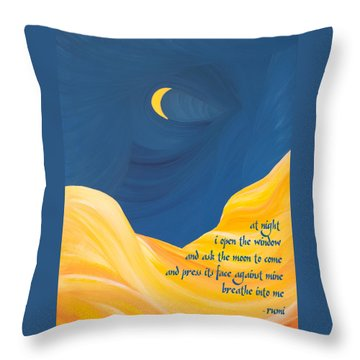 At Night With Rumi And The Moon Throw Pillow by Ginny Gaura