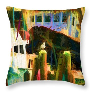Throw Pillow featuring the photograph At Rest Menemsha M. V. by Jack Torcello