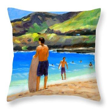 At Sandy Beach Throw Pillow by Douglas Simonson