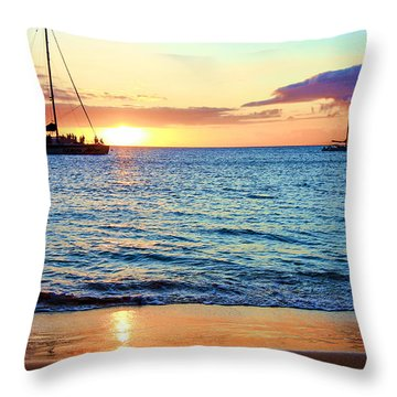 Throw Pillow featuring the photograph At Sea Sunset by Robert  Aycock