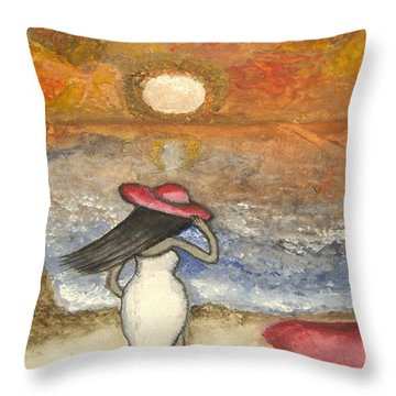 At The Beach Acrylic Abstract Art By Saribelle Throw Pillow by Saribelle Rodriguez