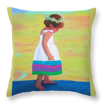 Throw Pillow featuring the painting At The Beach by Deborah Boyd