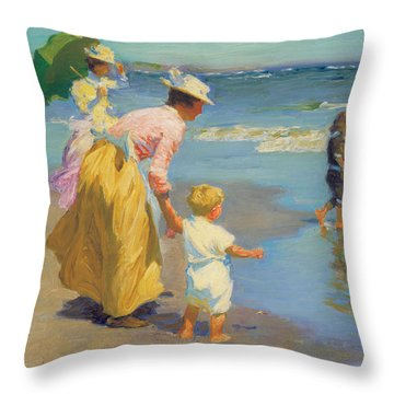 At The Beach Throw Pillow by Edward Potthast