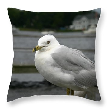 At The Boat Landing Throw Pillow by Denyse Duhaime