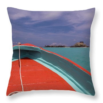 At The Bow Of A Ponga Throw Pillow