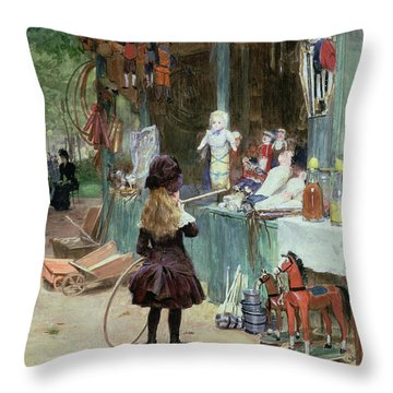 At The Champs Elysees Gardens Throw Pillow by Victor Gabriel Gilbert