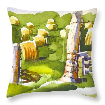 At The Farm Baling Hay II Throw Pillow by Kip DeVore