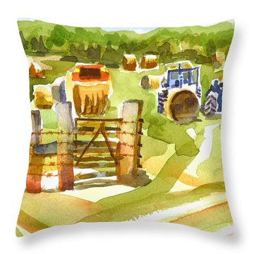 At The Farm Baling Hay Throw Pillow by Kip DeVore