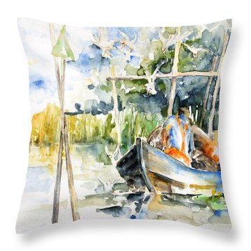 At The Fish Trap Throw Pillow by Barbara Pommerenke