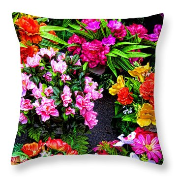 At The Flower Market  Throw Pillow by Olivier Le Queinec