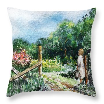 Throw Pillow featuring the painting At The Gate Summer Landscape by Irina Sztukowski