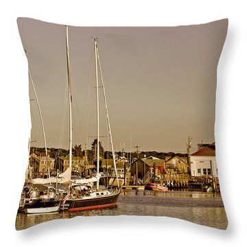 At The Harbor - Martha's Vineyard Throw Pillow by Kim Hojnacki