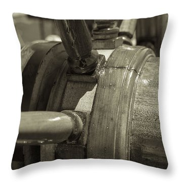 At The Helm Black And White Sepia Throw Pillow by Scott Campbell