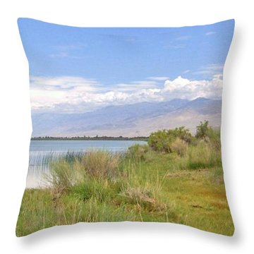 Throw Pillow featuring the photograph At The Lake by Marilyn Diaz