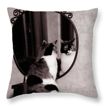 Throw Pillow featuring the photograph At The Mirror by Laura Melis