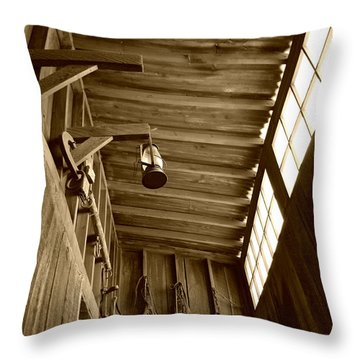 At The Museum - Sepia Throw Pillow