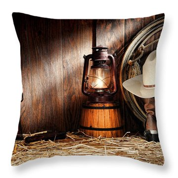 At The Old Ranch Throw Pillow by Olivier Le Queinec