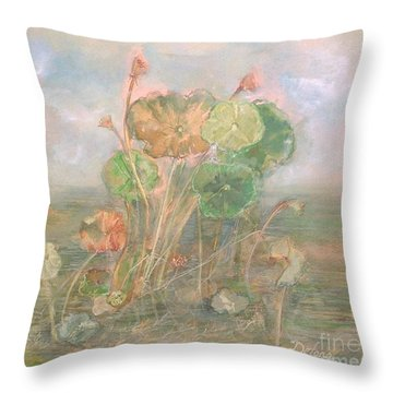 Throw Pillow featuring the painting At The Pond by Delona Seserman