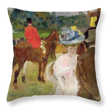 At The Races At Auteuil Throw Pillow by Leon Georges Carre