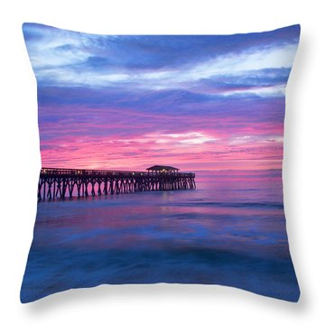 Myrtle Beach State Park Pier Sunrise Throw Pillow