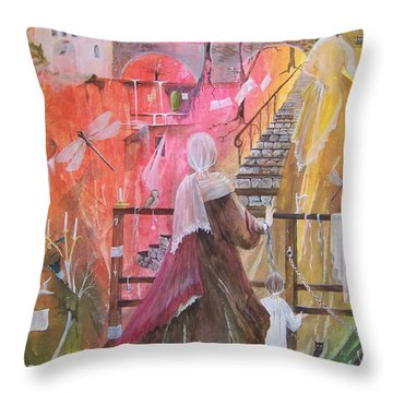 At The Top Of The Stairs Throw Pillow by Jackie Mueller-Jones