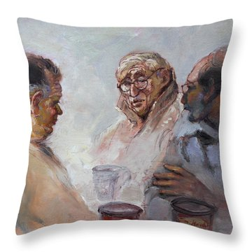 At Tim Hortons Throw Pillow by Ylli Haruni