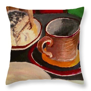 At Witches Brew Tiramisu Coffee And Writing Too Throw Pillow by Darlene Berger