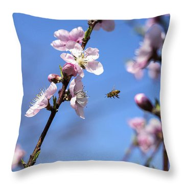 Throw Pillow featuring the photograph At Work by Amber Kresge