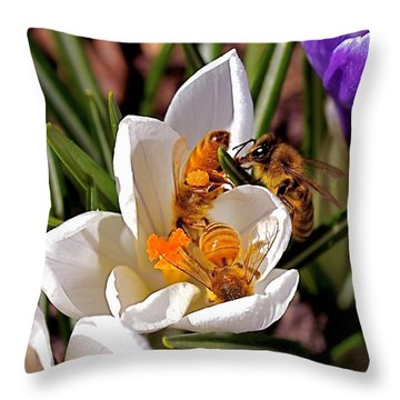 Throw Pillow featuring the photograph At Work by Rona Black