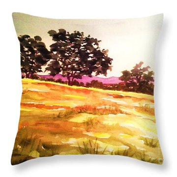 Throw Pillow featuring the painting Atascadero Gold by Suzanne McKay