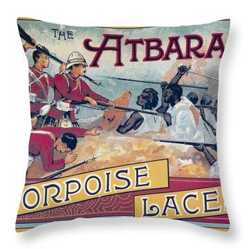 Throw Pillow featuring the photograph Atbara Porpoise Laces Vintage Ad by Gianfranco Weiss