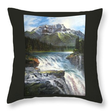 Throw Pillow featuring the painting Athabasca Falls by LaVonne Hand