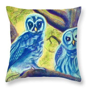 Throw Pillow featuring the painting Athena's Owlets by D Renee Wilson